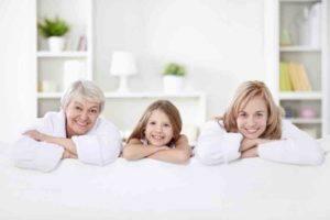 Kind, Mutter, Oma auf einem Bild