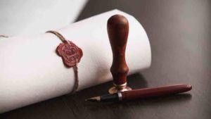 Urkunde mit Siegel und Stempel